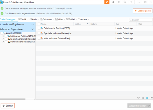 EaseUS Data Recovery Wizard Free 12.0 im Test